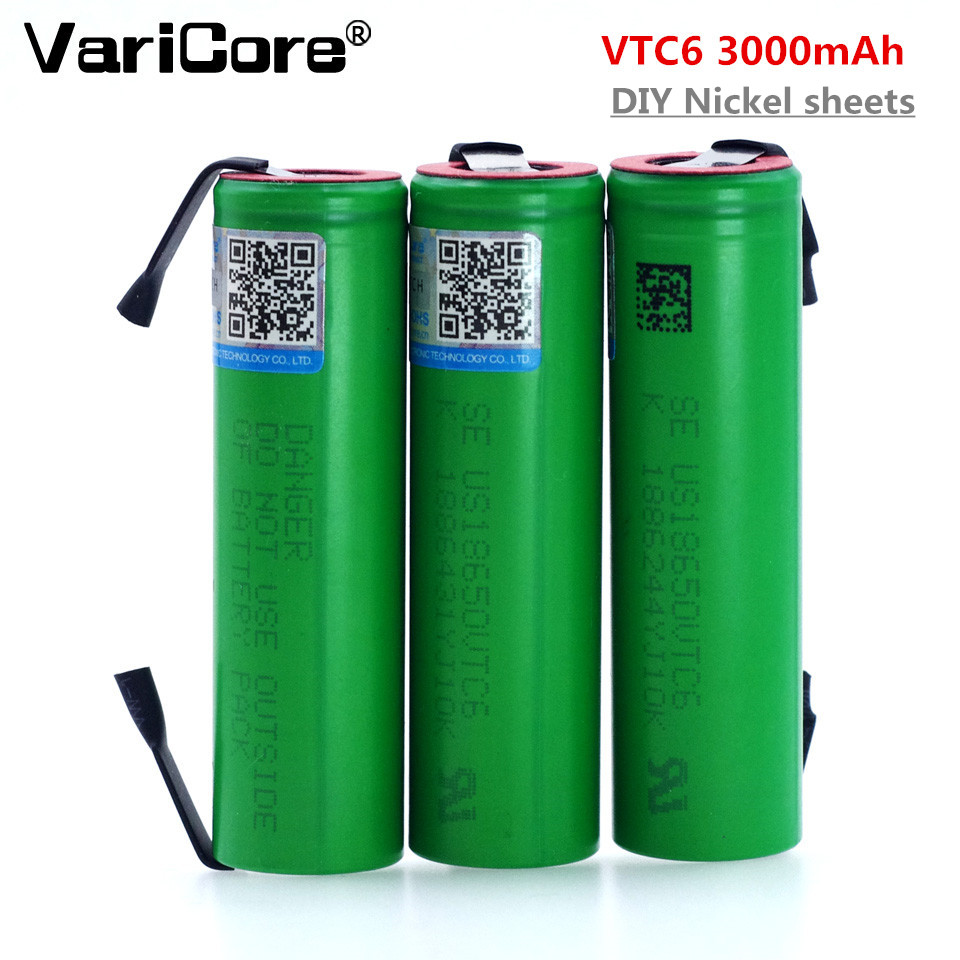 VariCore New VTC6 3.7V 3000mAh lithium ion Battery 18650 US18650 VTC6 30A battery + DIY Nickel sheets Battery 100% vtc6 3 7v 3000 mah 18650 li ion rechargeable battery 30a discharge for sony us18650vtc6 batteries diy nickel sheets