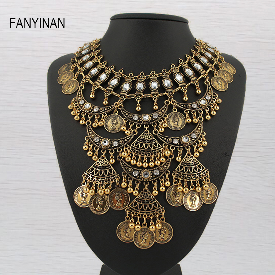 Multi layer necklace gold bohemian vintage coins style statement necklaces & pendants retro collar choker free shipping chran new fashion luxury vintage style jewellery multi layer string twist faux pearl choker necklaces&pendants gifts