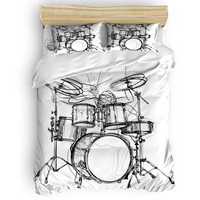 Shelf Drum Rock Music 4 Piece Bedding Sets 4 Pcs Bedding Sets Quilted Duvet Set Thanksgiving Day Machine Washable The Lovers