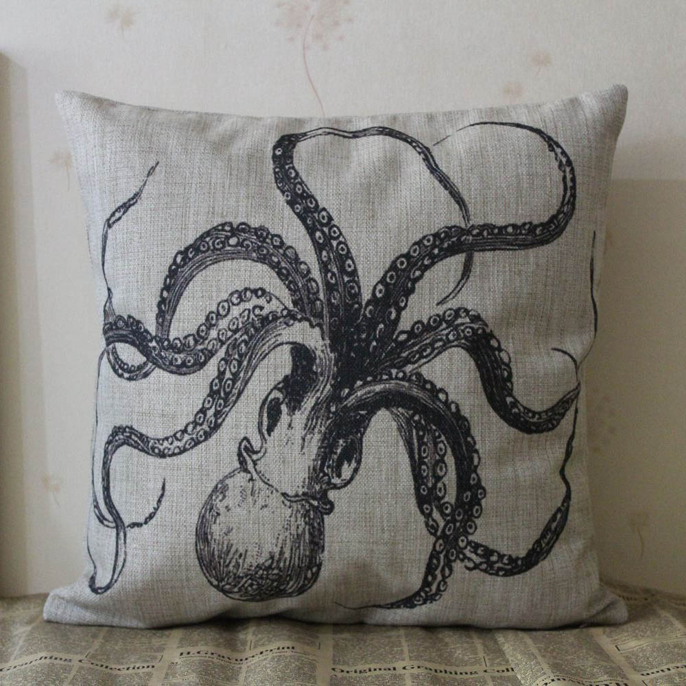 online get cheap octopus pillow cover aliexpresscom  alibaba group - linkwell x black ocean coastal nautical octopus sealife design marineburlap pillow cover