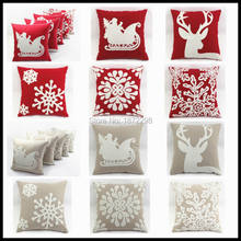 Free Shipping 45*45cm Christmas Style 100% Cotton Canves Wool Embroidery Cushion Cover HT-CCWEC-F-01-10(China)