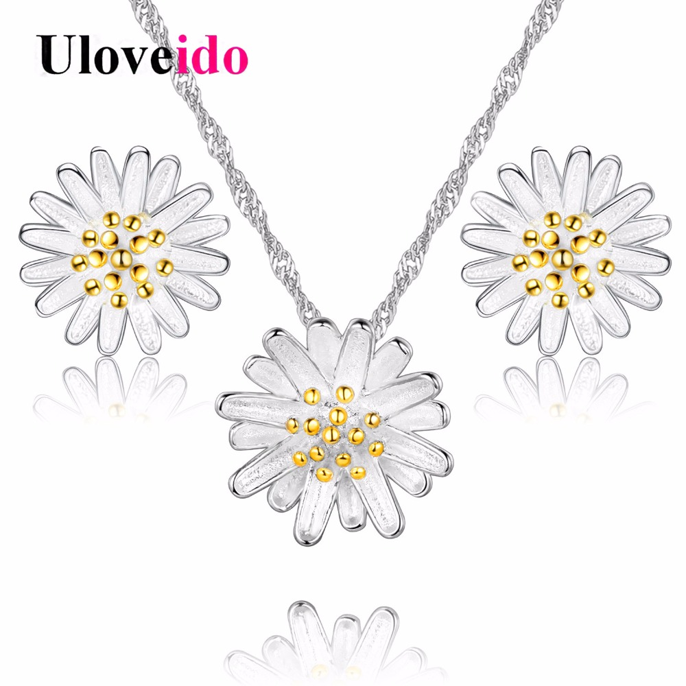 Uloveido Flower Necklace And Earring Set Silver Color Kids Jewellery For  Girls Ladies Jewellery Sets Parure