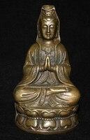 Tibet Buddhist bronze Goddess of Mercy kwan Yin Buddha Statue free shipping
