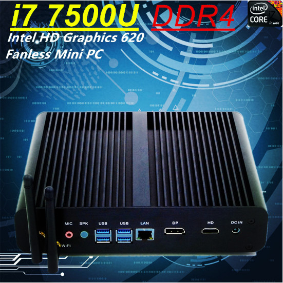 Inte Core i7 <font><b>8550U</b></font> i7 7500U DDR4 <font><b>Fanless</b></font> Mini PC Intel HD Graphics 620 Win10 Pro Kaby Lake Mini Desktop Computer HTPC DP+HDMI image