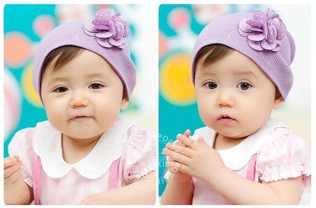 Wholesale 2 colors baby hat baby cotton knit cap children autumn hat 10pcs/lot