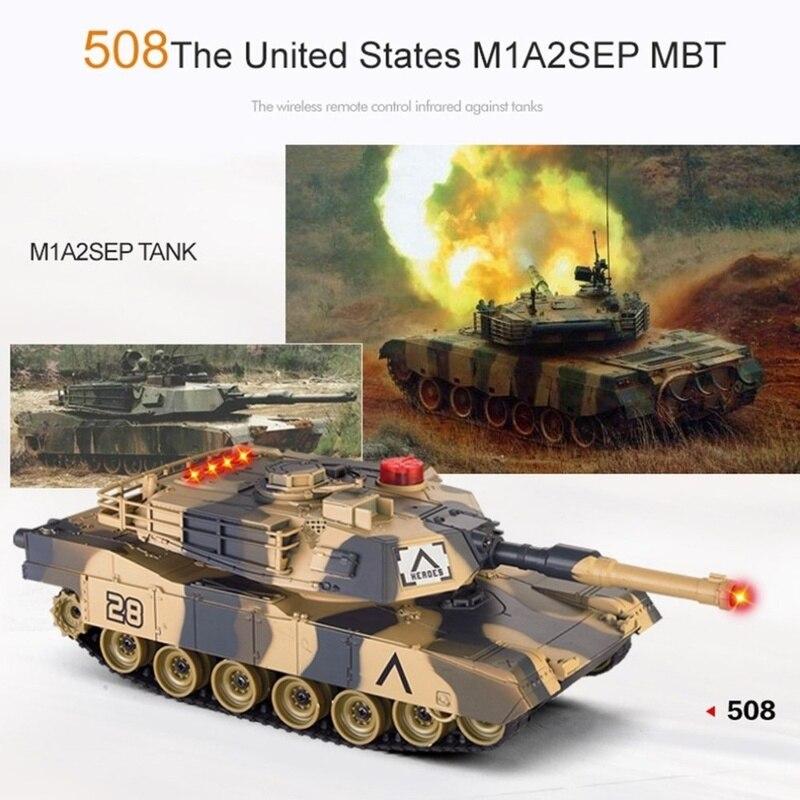 2 pièces 1/32 échelle double infrarouge bataille réservoir tir militaire BB combat balles voiture jouets avec rotation indicateur de vie
