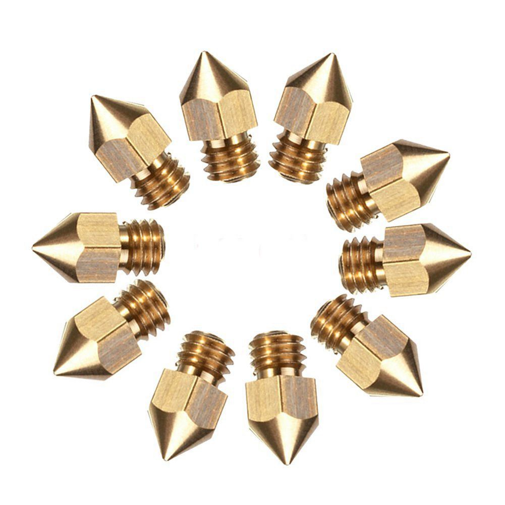 10 Pcs MK8 Extruder Nozzle For 3D Printer CR 10 5 Different Size 0 2mm 0