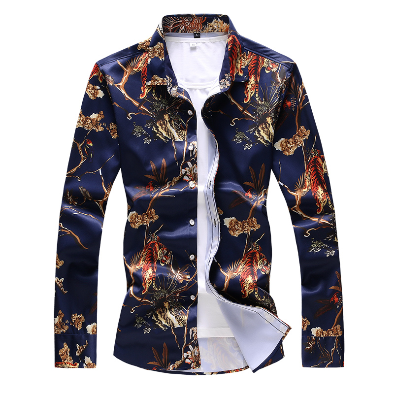 Grote Maat 7xl Nieuwe Mode Heren Gedrukt Dress Shirt Slanke Elegante Jonge Mannen Hotel Banket Ktv Casual Shirt