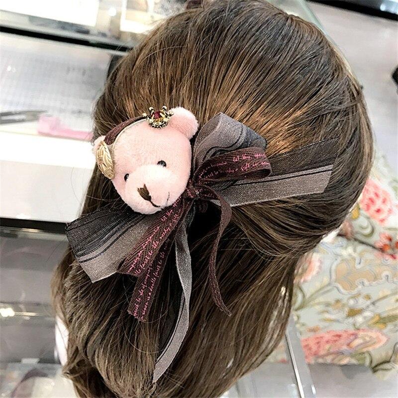 Korea Handmade Cartoon Bear head Bow knot Adult Women Elastic Hair Band Head wear Apparel Accessories Fall Winter-YHAWEHB042C5
