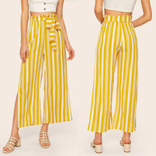 Women Summer Striped Harem Pants Elastic Waist OL Work Casual Loose Long Trouser