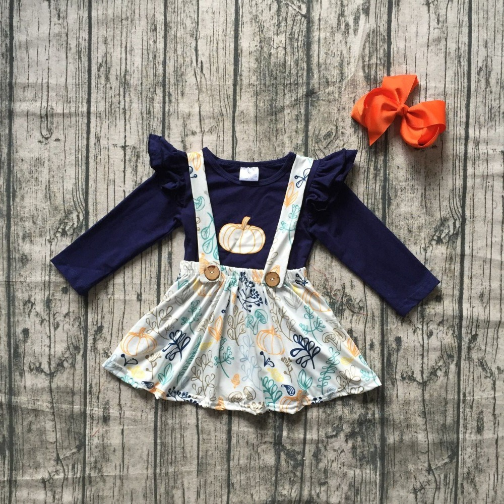 girls Fall/winter clothes children girls navy top with skirts sets clothing girls boutique clothing sets with matching bows