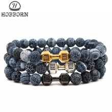 HOBBORN 8mm Natural Stone Men Bracelet Handmade Weathered Onxy Dumbbell Elasticity Bracelets Fitness Jewelry Drop Shipping