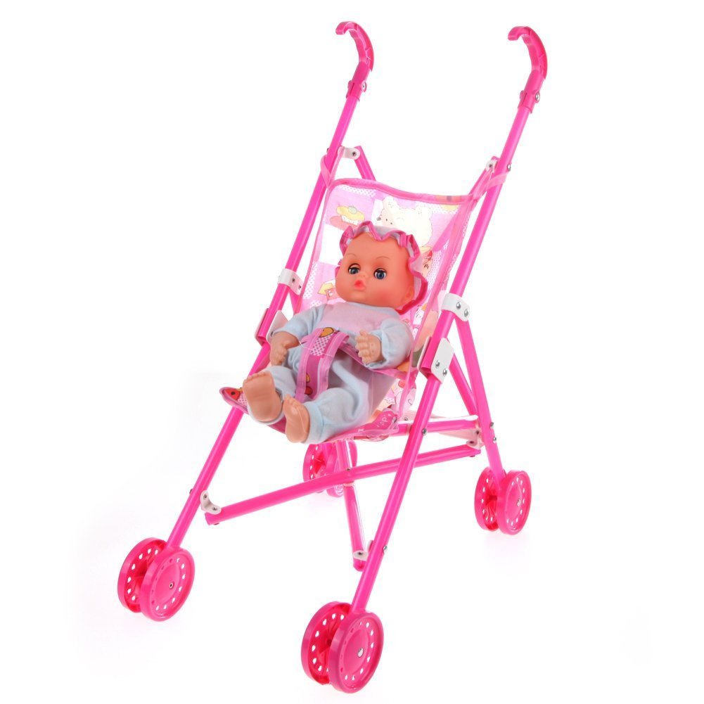 KEOL Dolls Buggy Stroller Pushchair for Garden Outdoors Pram Foldable Toy Doll Pram Baby Doll