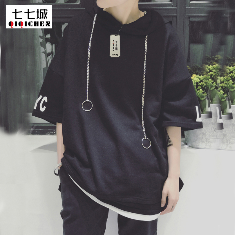 2018 Summer New Trend Metal Ring Street Hip Hop Oversize T-shirt Men Hooded Short Sleeve Pullover Hoodie Swag Tee Shirts Homme ...