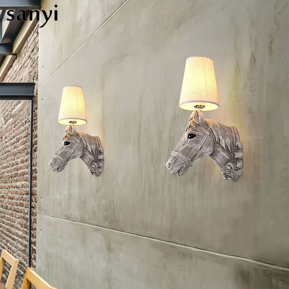 Modern wall lamps Resin horse head Creative wall Sconce Lighting Bedroom Study Room Cafe Light Fixture