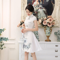 High Quality Elegant Grey Satin QiPao Chinese National Vietnam Ao Dai Dress Lady S Short Sleeve