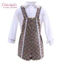 Pettigirlaa Latest Boutique Infant Boy Clothing Set Suspender Plaid Shorts White Shirts Baby Autumn Wear B-DMCS908-916