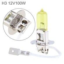 12V H3 100W 2500K Yellow Light Super Bright Car Xenon Halogen Lamp Auto Front Headlight Fog Bulb