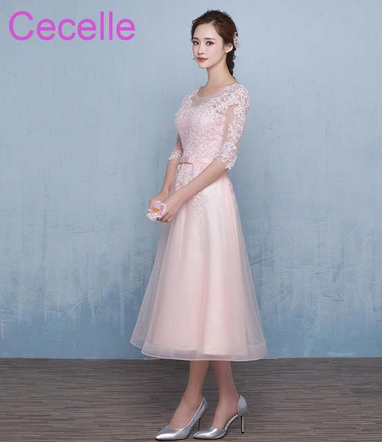 Pink Tulle Lace Short Modest Bridesmaid Dresses With Half Sleeves A-line  Tea Length Country c779dccc32c2