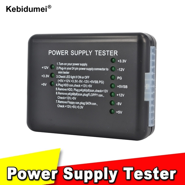20/24 Pin PSU ATX SATA HDD Power Supply Tester LED Indication ...