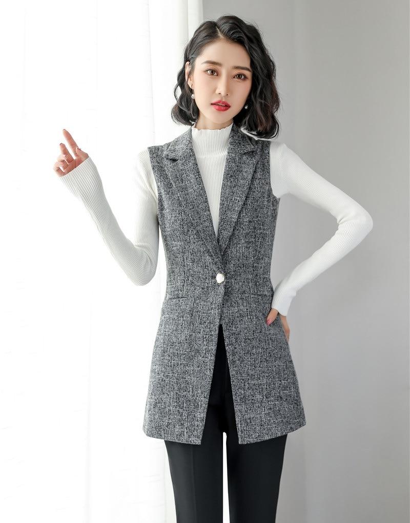 Fashion Ladies Grey Vest Women Waistcoat Long Outerwear Coat Female  Business Clothes Office Uniform Styles Vests & Waistcoats  - AliExpress
