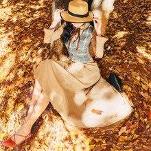 Yüksek kaliteli patlama eğlence eşleşen elbiseler kadın ekose bahar yaz rahat elbise