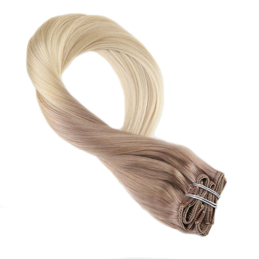 Moresoo Clip In Human Hair Extension 100% Remy Human Hair Clip In Extension Omber Color T#18/613 Hair Clips 7PCS 100G
