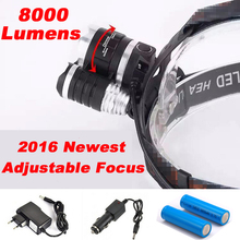 Headlight Adjust Focus HeadLamp 8000 Lumen LED Headlight CREE XM-L 3*T6  Headlamp Lamp Light  +2X18650 Battery+ AC/Car Charger