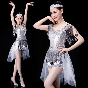 High quality 2019 new modern dance costumes jazz dance costume sequins sexy nightclub Latin dance skirt female adult suit