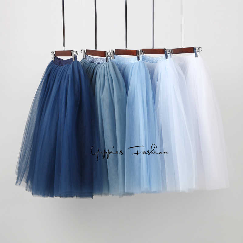 Streetwear 7 שכבות 65cm Midi קפלים חצאית נשים גותי גבוהה מותן טול סקטים חצאית rokjes גבירות ropa mujer 2019 נהיגה לראשונה חצאית femme