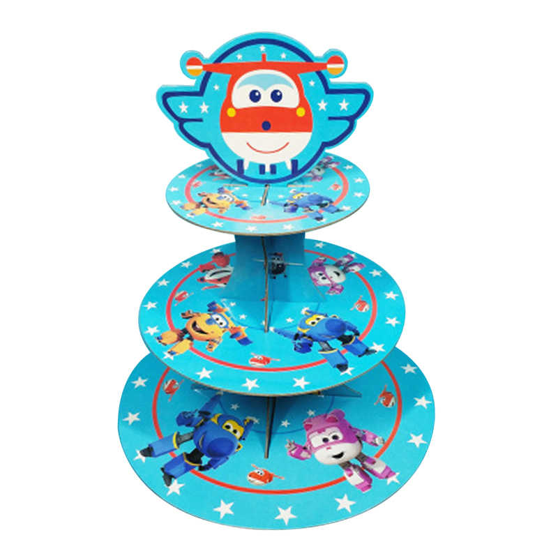 Decorar a Festa de Aniversário Do Tema Superwings 3 Tier Cupcake Holder Favores Do Chuveiro Do Bebê Dos Miúdos Dos Meninos Super Asas Carrinho Do Bolo 1 set/pacote
