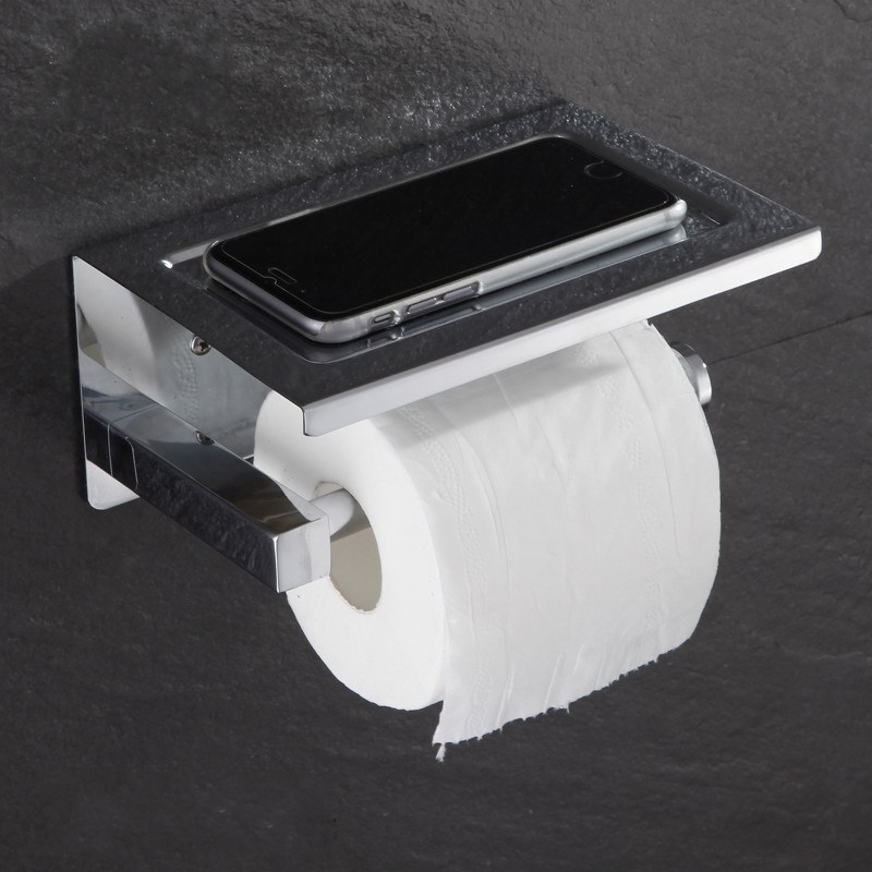 High quality Stainless steel toilet paper holder tissue boxes Paper roll holder  with shelf high quality bathroom wall mount tissue holder toilet roll paper holder with shelf chrome stainless steel 08 054