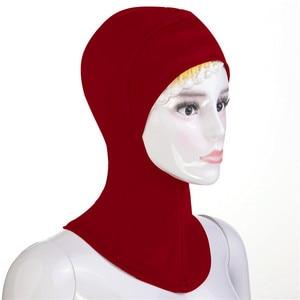 Image 2 - 12PCS New Under Hat Cap Bone Bonnet Ninja Inner Hijabs Women Muslim Islamic Wrap Headscarf Neck Full Cover Scarf Random Color