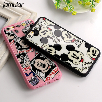 Case For iphone 6 6s Plus Cartoon Mickey Mouse Black Pink Mirror Silicon Soft Cover For iphone 7 Plus 5 5s SE Back Cover Fundas  iphone