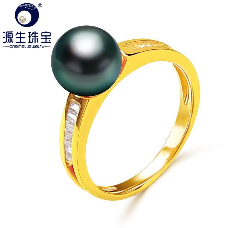 [YS] 14 k perle de mariage bijoux bague 8-9mm noir perle de tahiti anneau pour les femmes[YS] 14 k perle de mariage bijoux bague 8-9mm noir perle de tahiti anneau pour les femmes