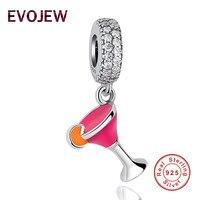 Evojew diseño único multicolor cóctel esmalte encanto evojew pulsera colgante con cristal brillante joyería de plata de DIY