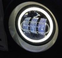 2PCS DOT 4Inch Round Wrangler Led Fog Lights 30W 6000K White Halo Ring DRL Off Road