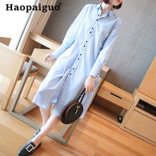 2019 Summer Casual Shirt Dress Women Turn-down Collar Long Sleeve Midi Korean Dress Women with Button Loose Elegant Dress Ladies long sleeved dress women 2019 spring summer new simple stripes turn down collar slim a line casual elegant dress midi s xl