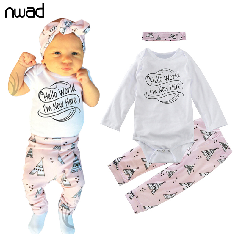NWAD Newborn Girl Clothes New Long Sleeve Clothing Suit For Baby Girls Print Clothes Set Infant Outfit With Headband FF293