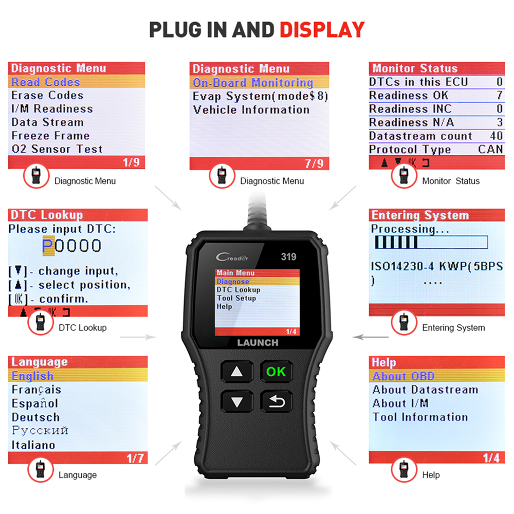 Launch X431 Creader 319 CR3001 Full OBD2 OBDII Code Reader Scan Tools OBD 2 CR319 Car Launch X431 Creader 319 CR3001 Full OBD2 OBDII Code Reader Scan Tools OBD 2 CR319 Car Diagnostic tool PK AD310 ELM327 Scanner