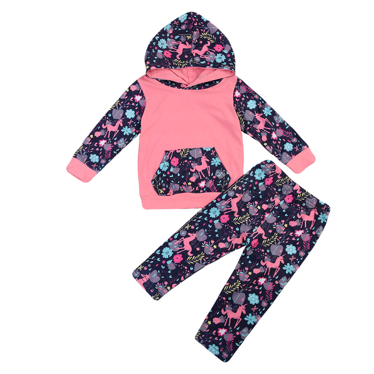 Baby Girl Long Sleeve T-shirt Tops Hooded Flower Pants Casual Outfits Toddler Clothing Floral Baby Girls Clothes Sets 2pcs boy kids long sleeve tops pants nightwear sleepwear pajama pyjamas outfits