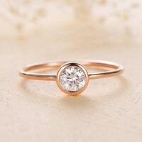 Твердое 18 к белое золото 1ct 6,5 мм AU750 голова быка круглый блестящий разрезанный Муассанит Solarite кольцо обручальное кольцо для женщин