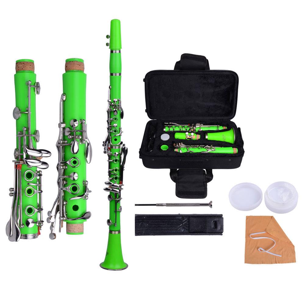 New Professional School Band Green Bb Clarinet with Case AccessoriesNew Professional School Band Green Bb Clarinet with Case Accessories