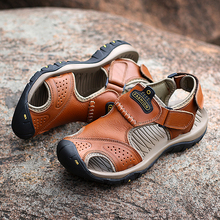Men Sandals Split Leather Beach Roman Casual Shoes Flip Flops Slippers Sneakers 2019 Summer fashion sandals