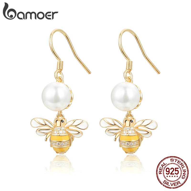 BAMOER 925 Sterling Silver <font><b>Elegant</b></font> Freshwater Pearl <font><b>Gold</b></font> Color Bee <font><b>Drop</b></font> <font><b>Earrings</b></font> for Women Authentic Silver <font><b>Jewelry</b></font> BSE018 image