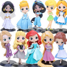 Fairy Princess figure doll Q Posket Snow White Mulan Mermaid Flounder and Ariel the Beast Belle Toy Topper Cake decoration(China)