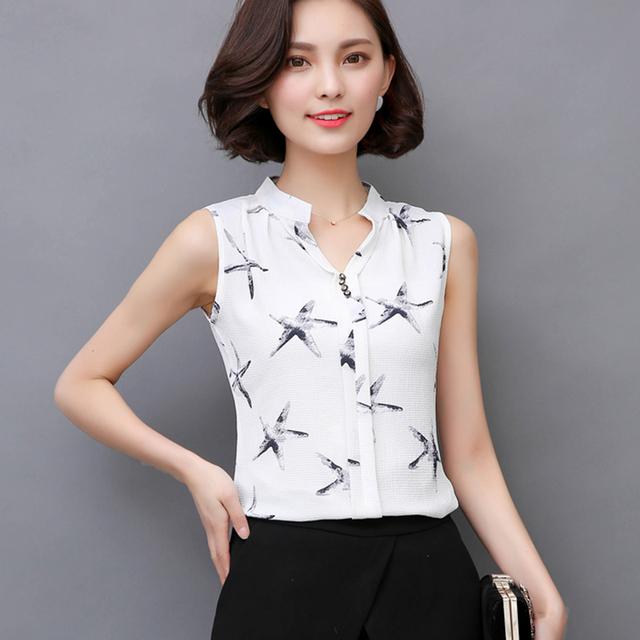 2017 Summer Style Women Tops Casual Sleeveless V-Neck Fashion Women Blouse Chiffon Print Blouses Shirts Ladies Plus Size Blusas