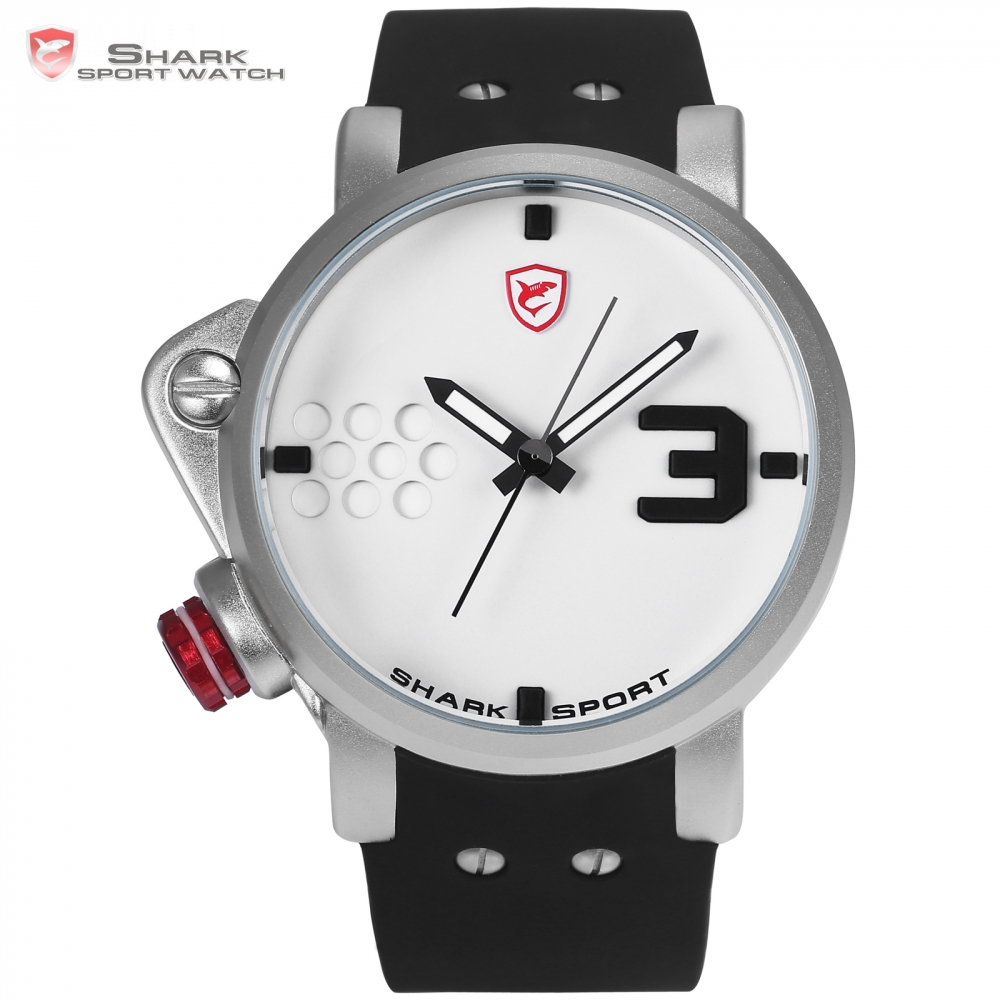 Salmon SHARK Sport Watch Designer Big Dial Quartz Watches Brand White Male Military Silicone Waterproof Relogio Masculino /SH521  sh brandmens dial sh035