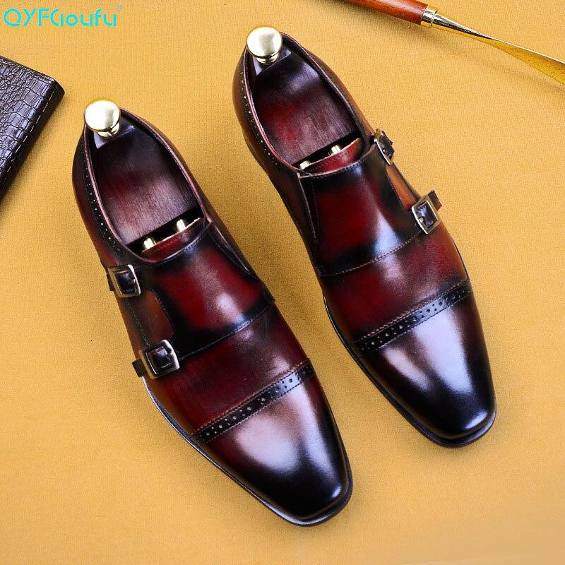 Deslizar sobre Fivela Sapatos de Festa de Casamento de Verão Sapatos para Homem Homens Vestem Sapatos Derby Qyfcioufu Couro Genuíno Monge Tira Eua Tamanho 11.5 se