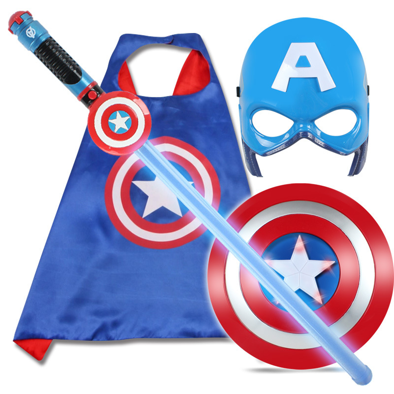 2018 Avenger Super Hero Cosplay Captain America Steve Rogers Figure Light-Emitting & Sound Cosplay Property Toy Metallic Shield